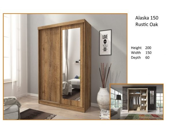 alaska rustic oak sliderobe