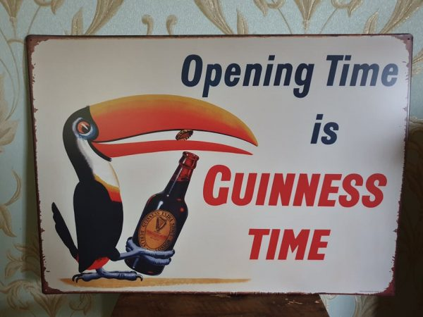 opening time is guinness time metal sign