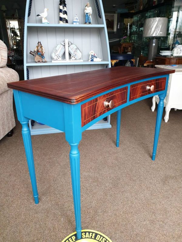 steal teal console table